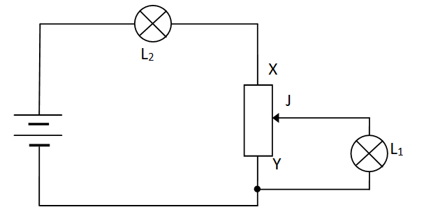 DC Circuit with 2 Lamps and 1 rheostat