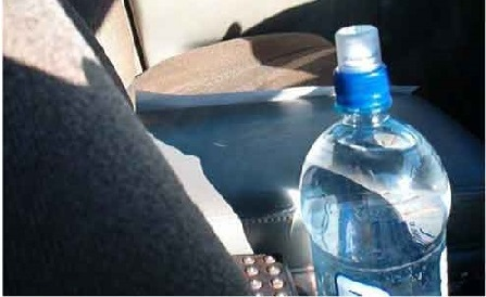 Leaving water bottles in a car can be a fire hazard
