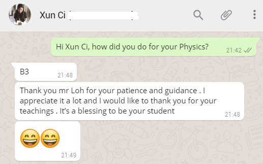 O Level Physics Tuition XunCi Testimonial