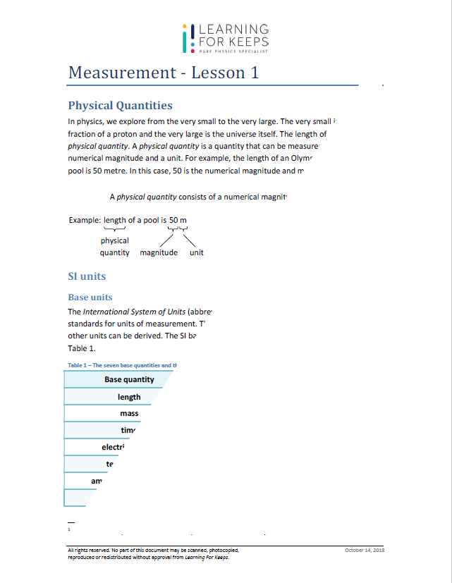 Sample Physics Tuition Lesson Notes Page 1